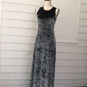 Vintage crushed velvet gray dress sleeveless long